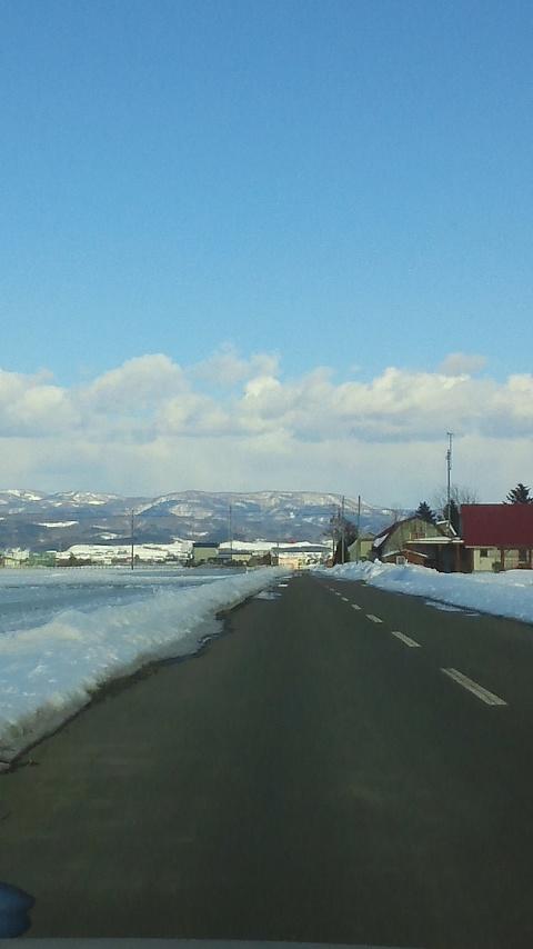 栗山の現場に行く途中。